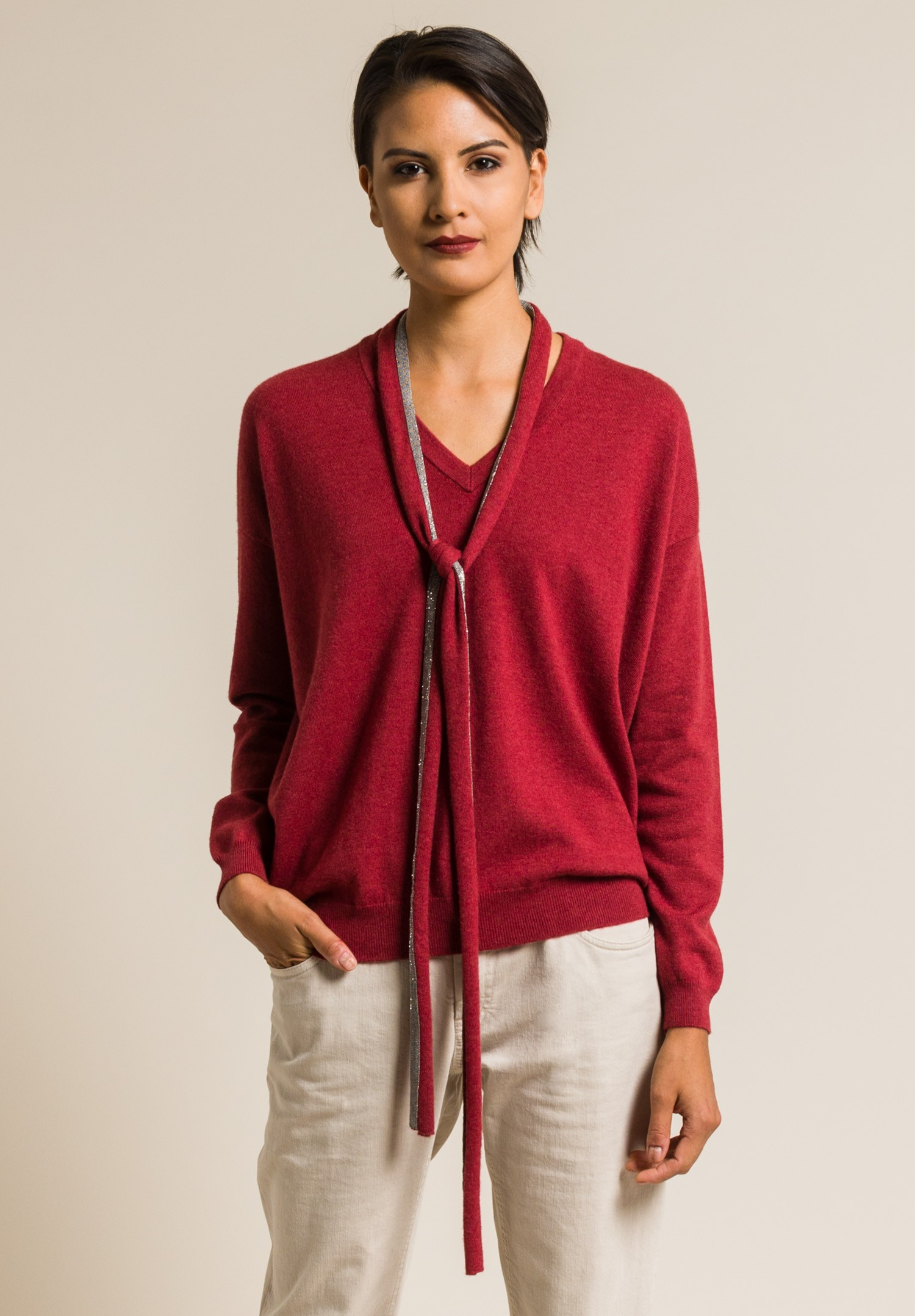Brunello Cucinelli Cashmere Paillette Tie V-Neck Sweater in Red ...