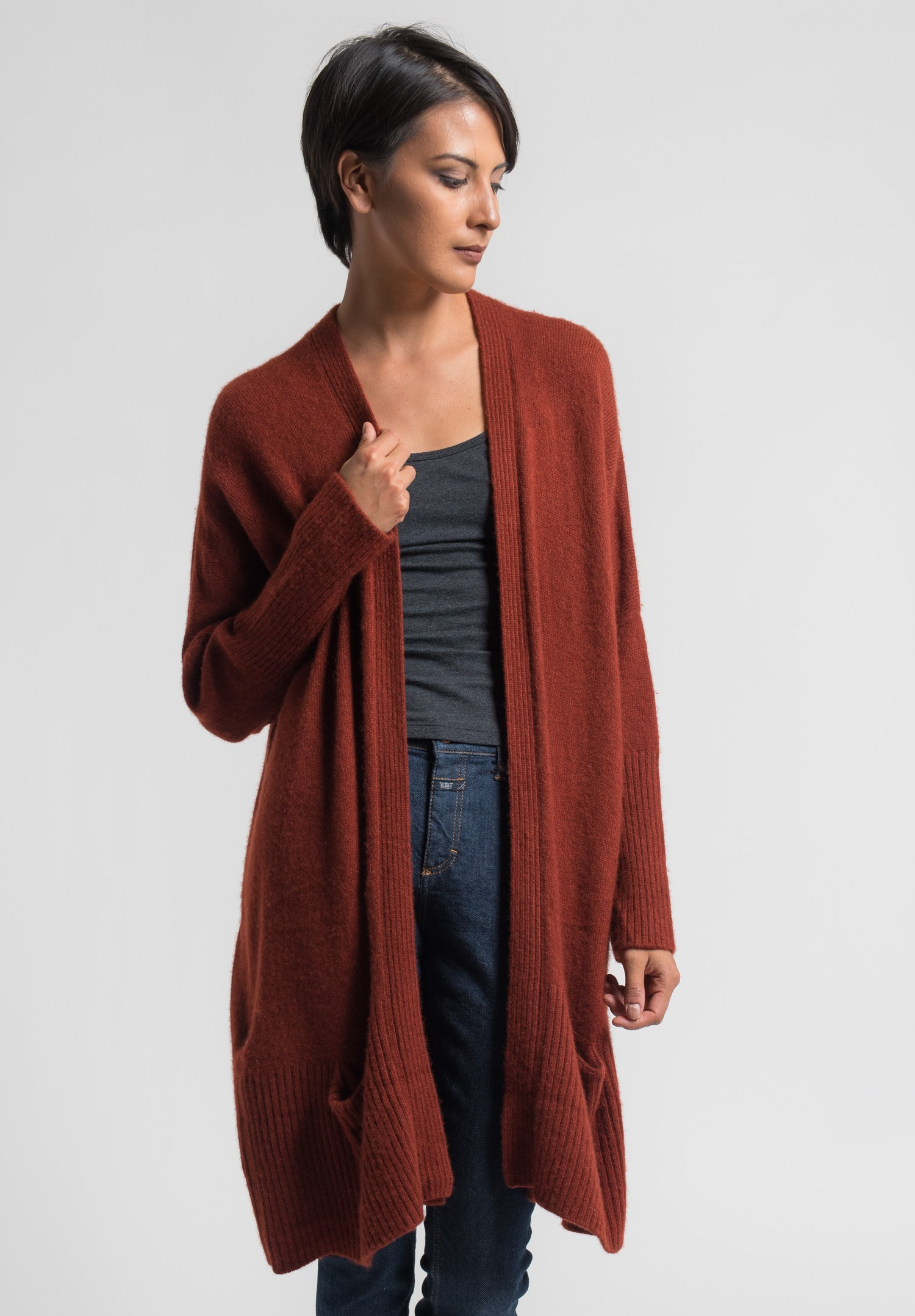 Eskandar Very Long Open Cashmere Cardigan in Africa | Santa Fe Dry ...