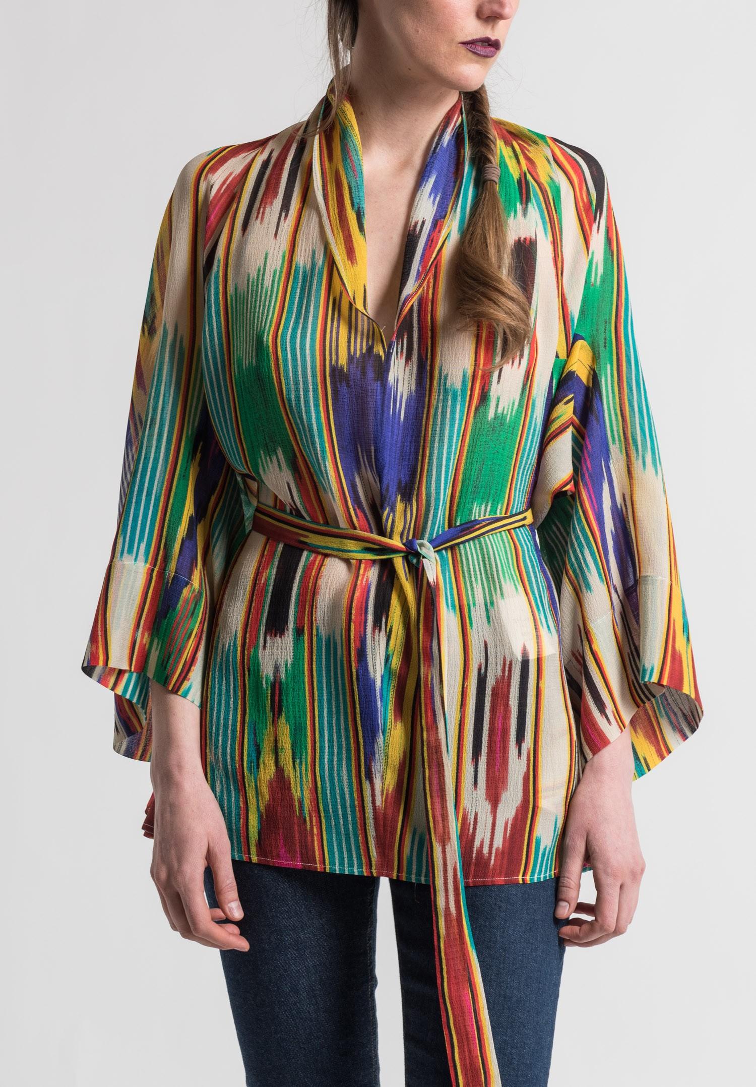 Etro Sheer Silk Ikat Print Top In Multi Santa Fe Dry