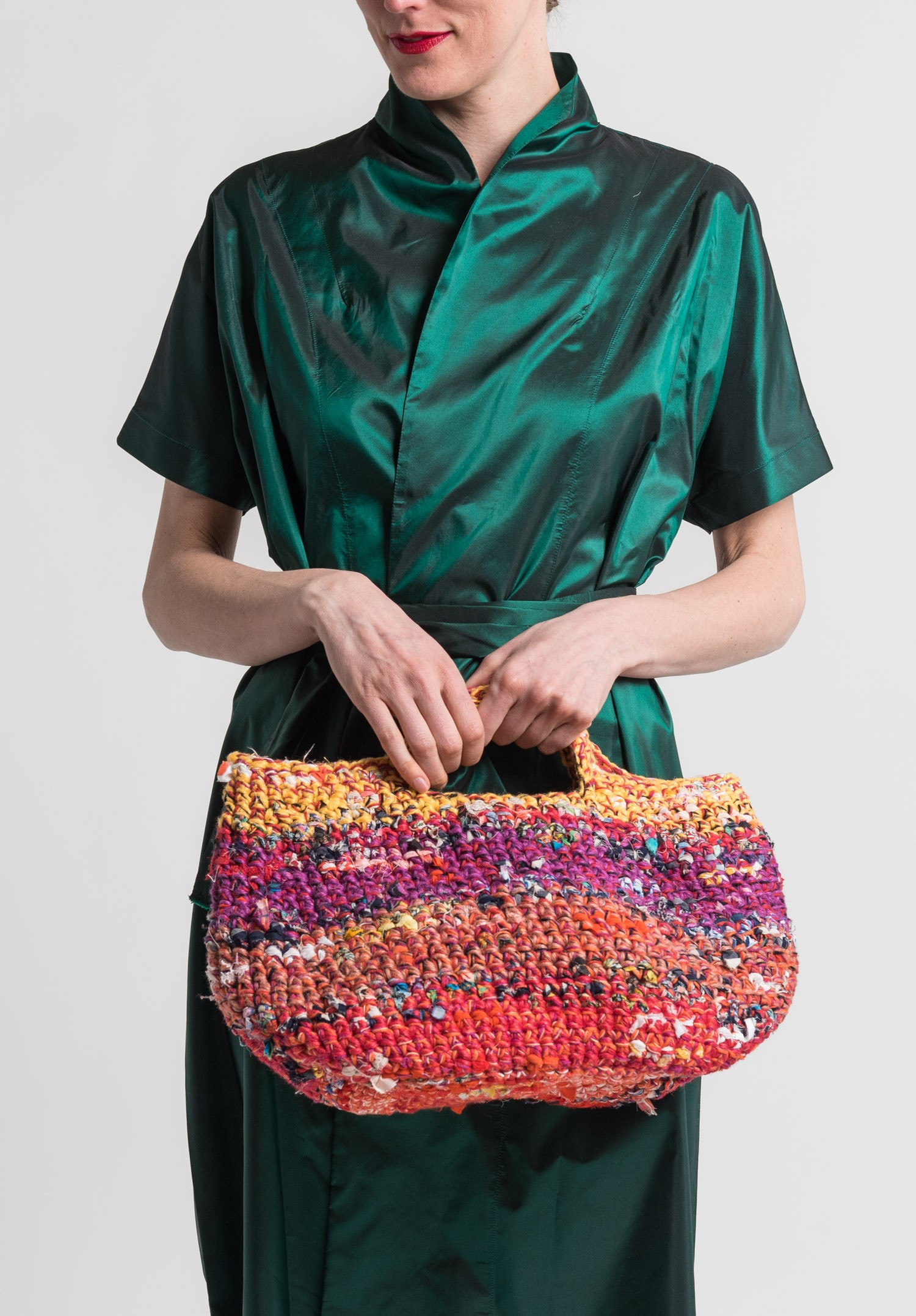 aaeaafe5314 Daniela Gregis Crocheted Cotton/Linen Bag in Multicolor | Santa Fe ...