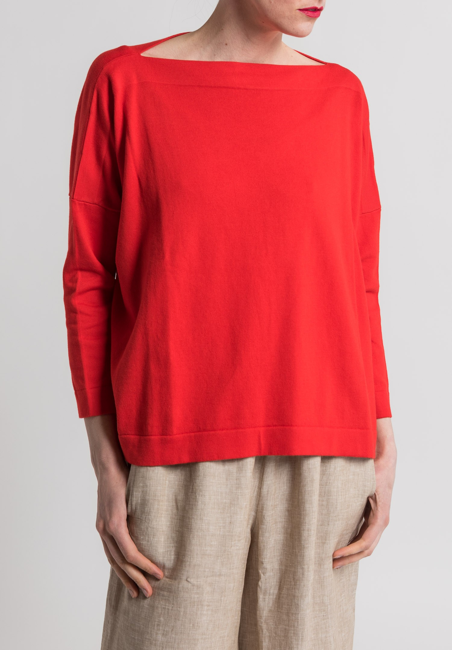 Daniela Gregis Cotton Boatneck Sweater in Red | Santa Fe Dry Goods