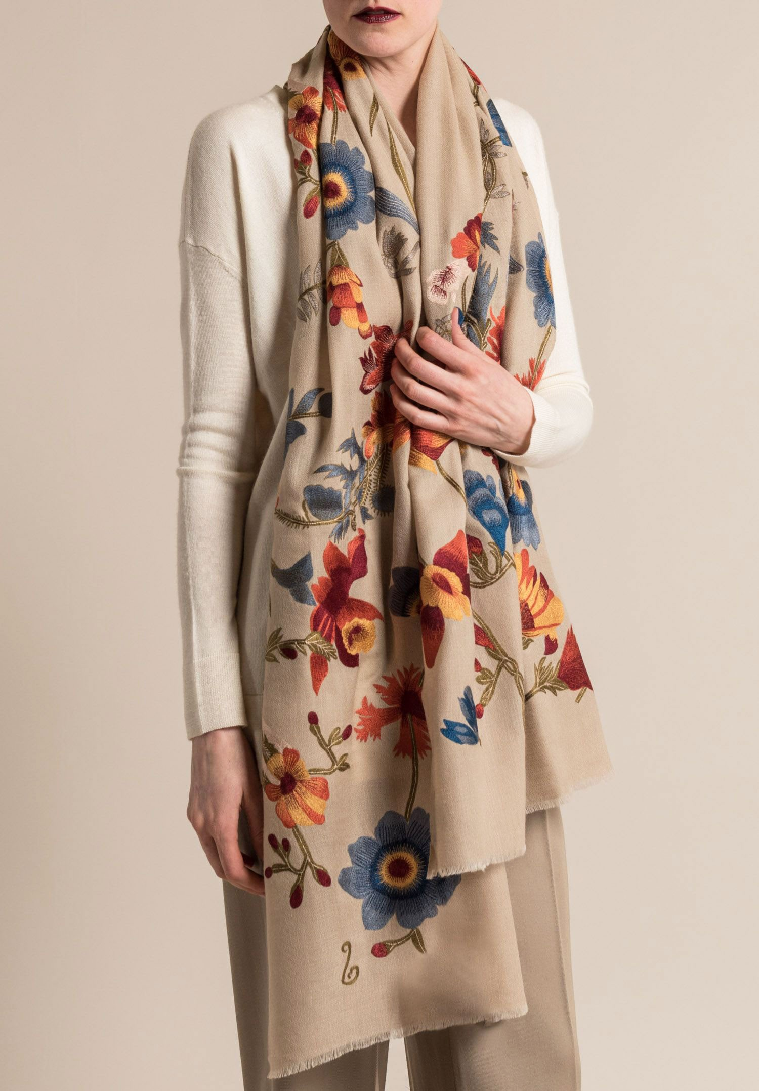 Janavi Cashmere Intricate Floral Embroidery Scarf In Light