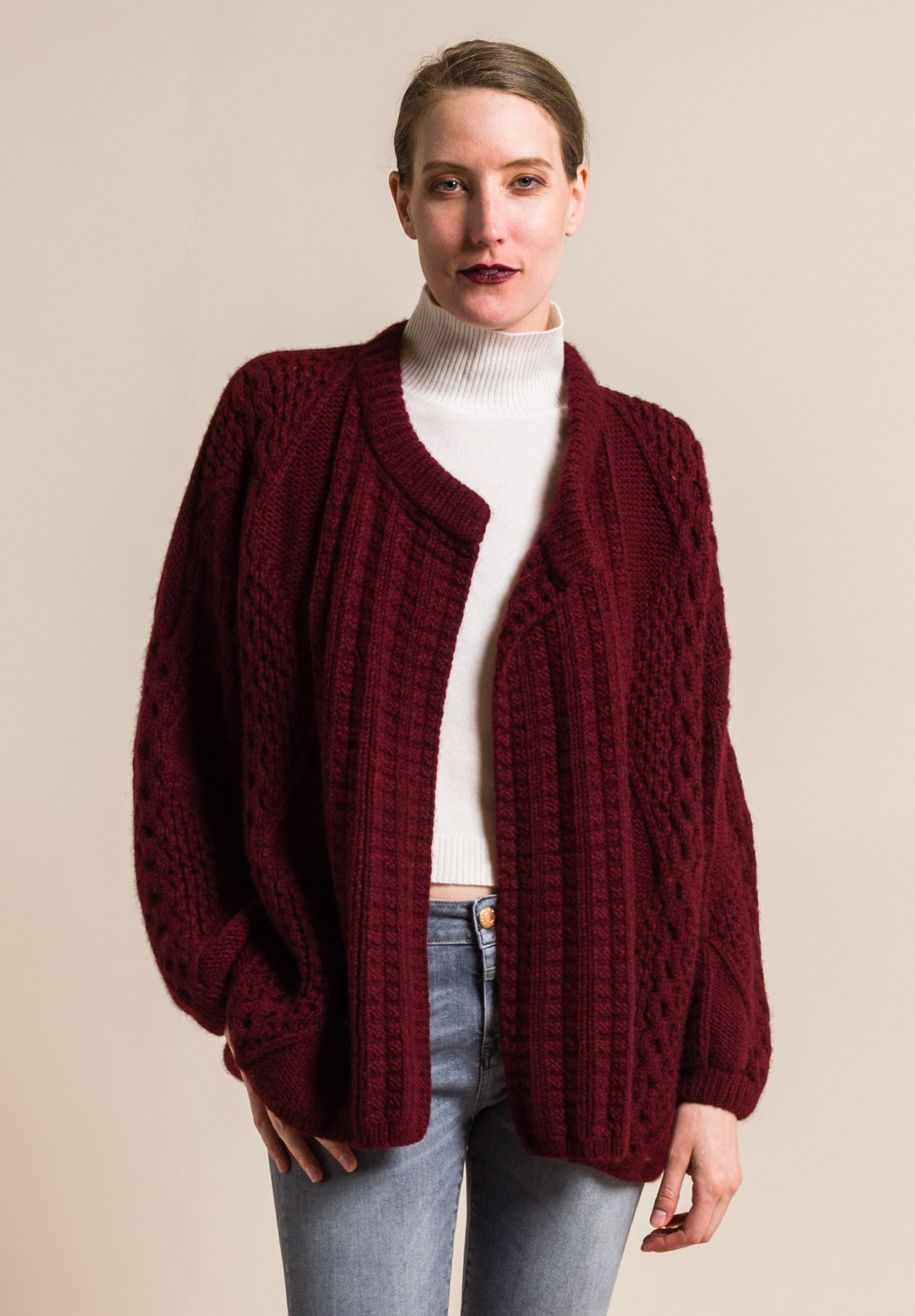 Hania Handknit Cashmere Short Swanilda Cardigan in Dark Red ...