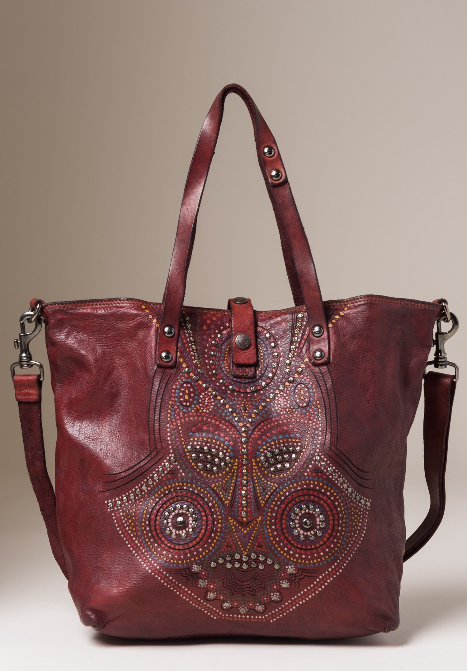 biggest discount incredible prices how to buy Campomaggi Paint and Stud Mask Design Leather Tote in Red ...