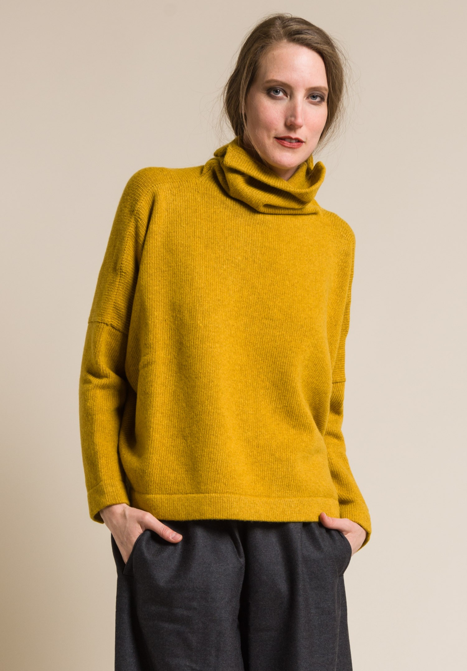Daniela Gregis Cashmere Turtleneck Sweater in Dark Yellow | Santa ...