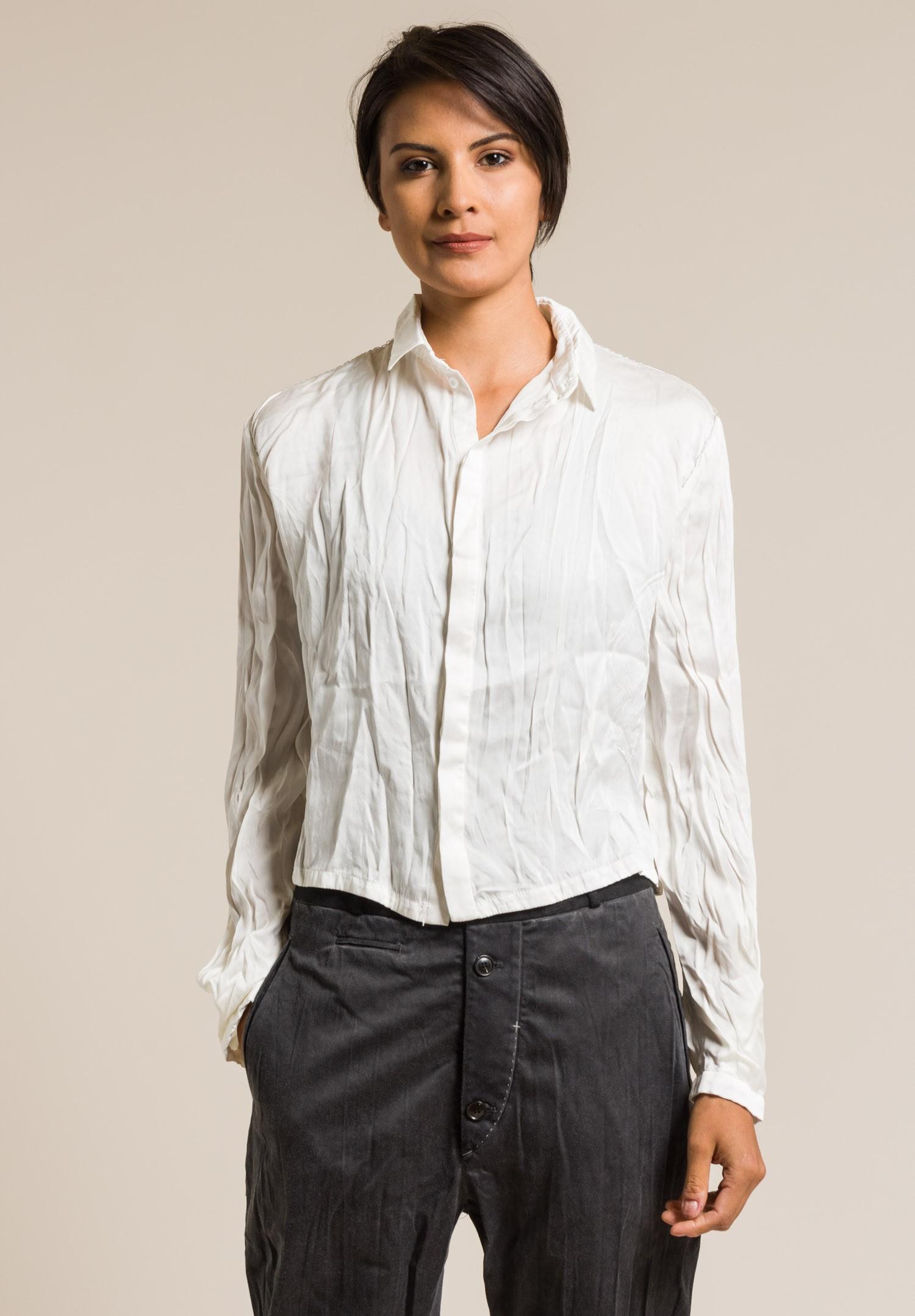 Umit unal silk cropped button down shirt in cream santa for Silk button down shirt