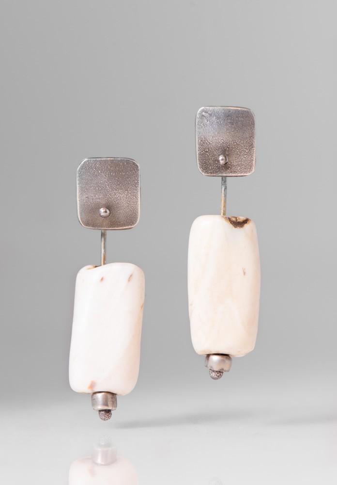 Holly Masterson White Tubular Bead Earrings Santa Fe Dry Goods