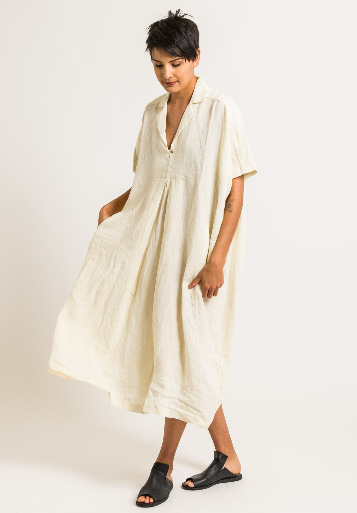 cced5b1260b Black Crane Linen Kite Dress in Cream