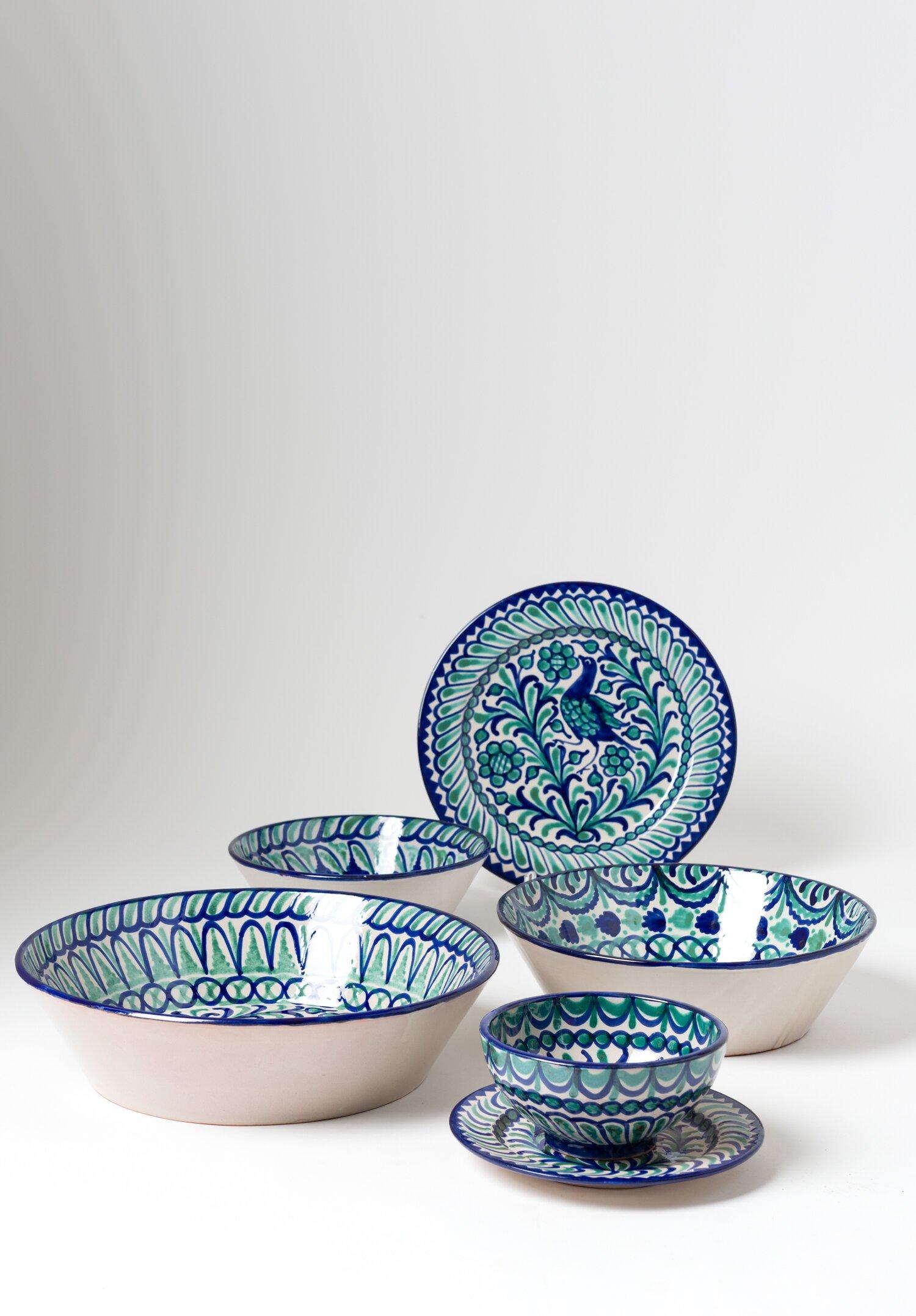 Casa Lopez Medium Iberian Ceramic Salad Bowl In Blue Green Santa Fe Dry Goods Workshop Wild Life