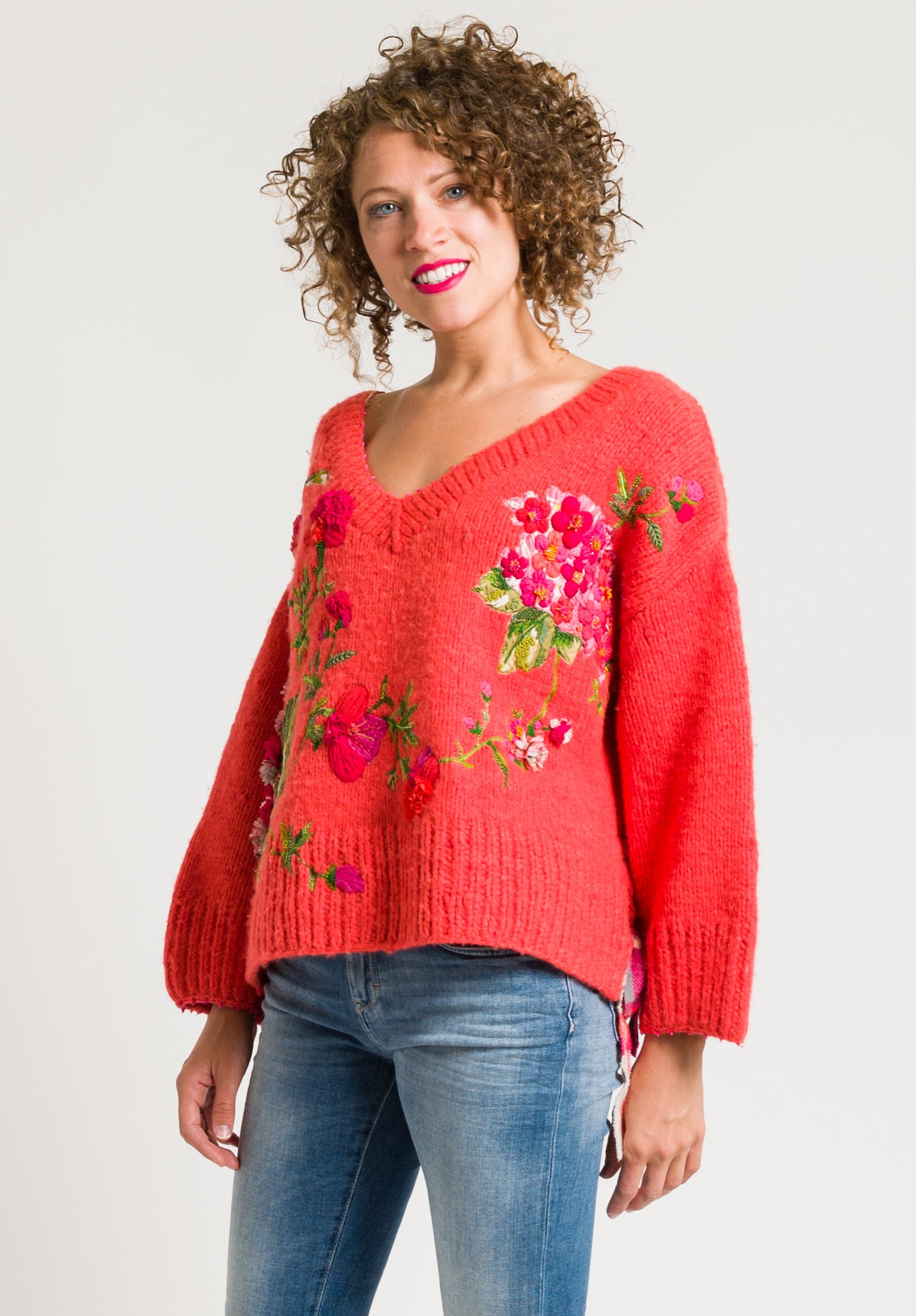 P 233 Ro Beaded Amp Embroidered Flower Sweater In Coral Santa