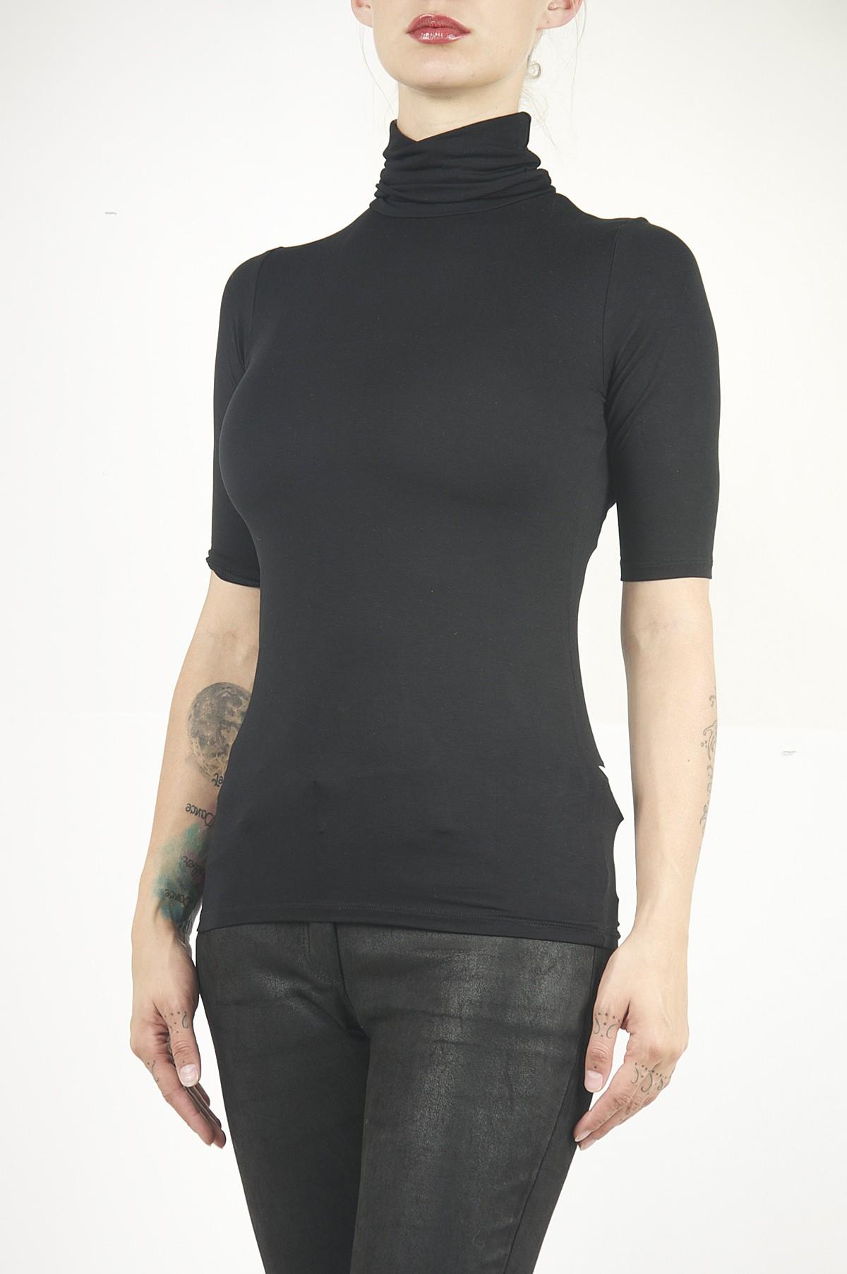 Majestic Turtleneck 3 4 Sleeve Shirt In Black Santa Fe