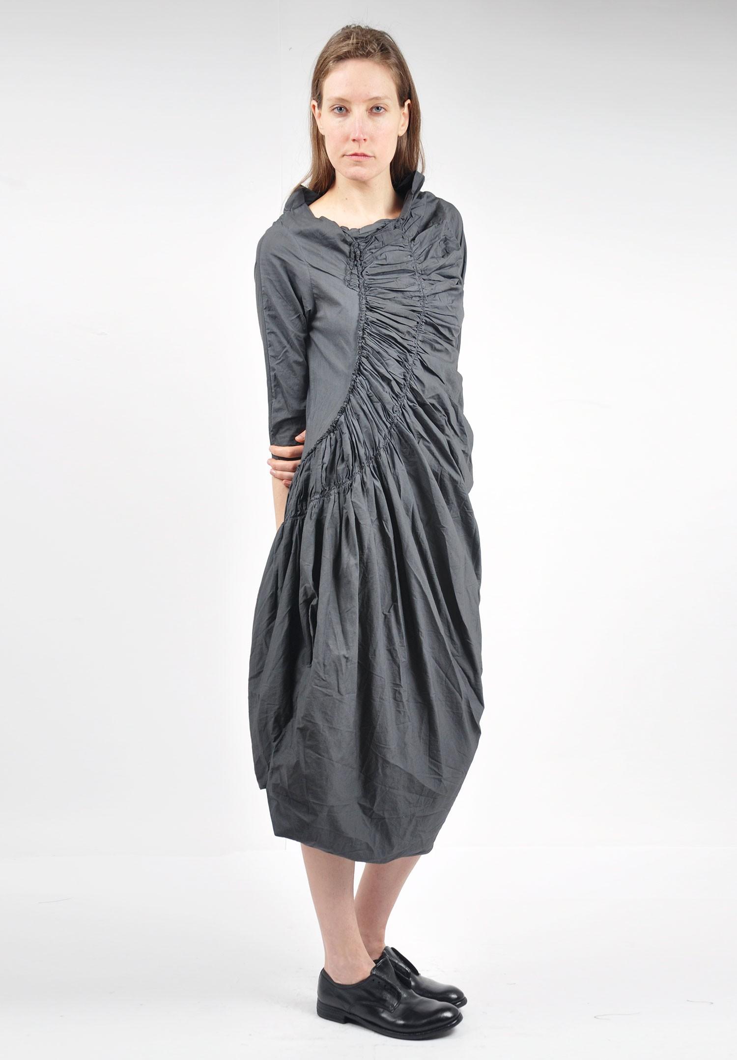 Rundholz Black Label Ruched Tulip Dress In Tang Santa Fe