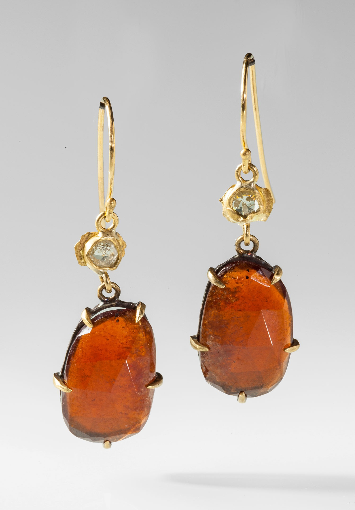 Margery Hirschey Orange Garnet and Diamond Earrings