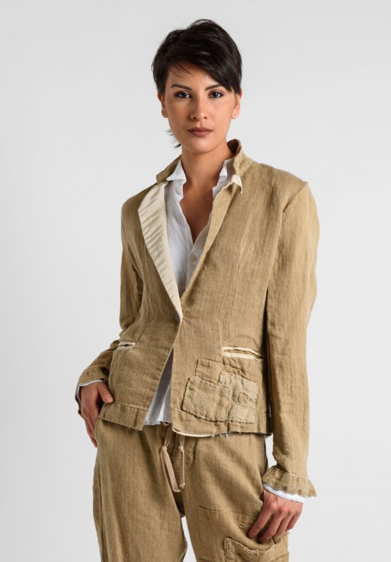 Greg Lauren Vintage Herringbone Dinner Jacket in Sand