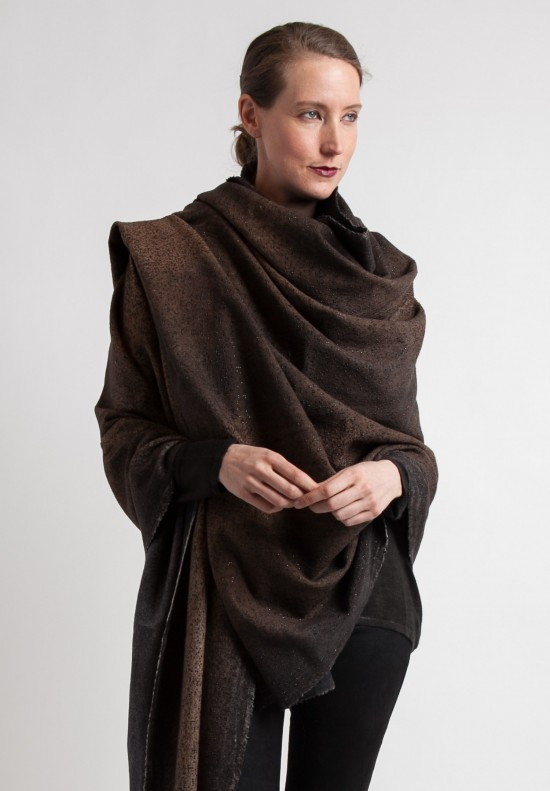 Avant Toi Large Studded Wrap Shawl in Dark Brown