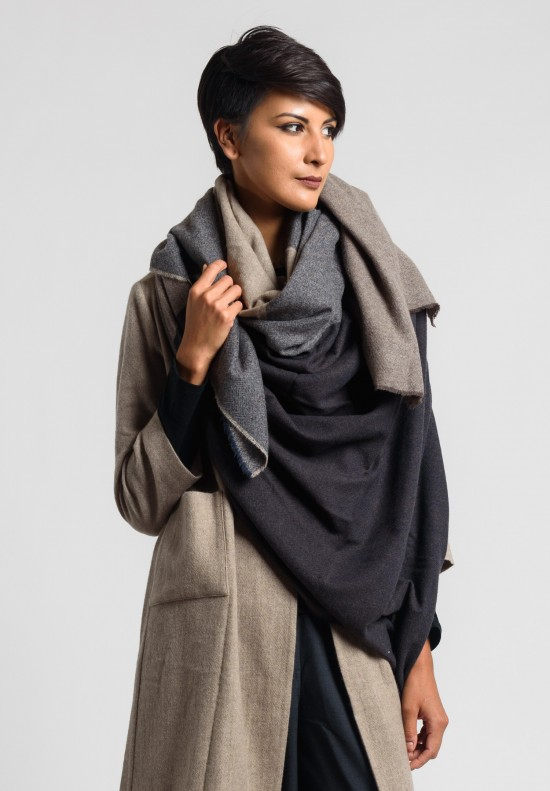 Daniela Gregis Large Cashmere Shawl in Brown