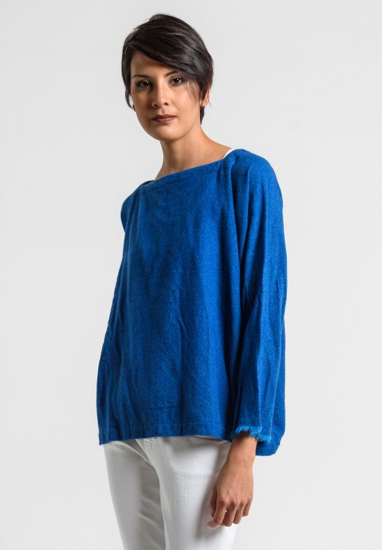 Daniela Gregis Washed Cashmere Top in Turquoise/Blue Ink