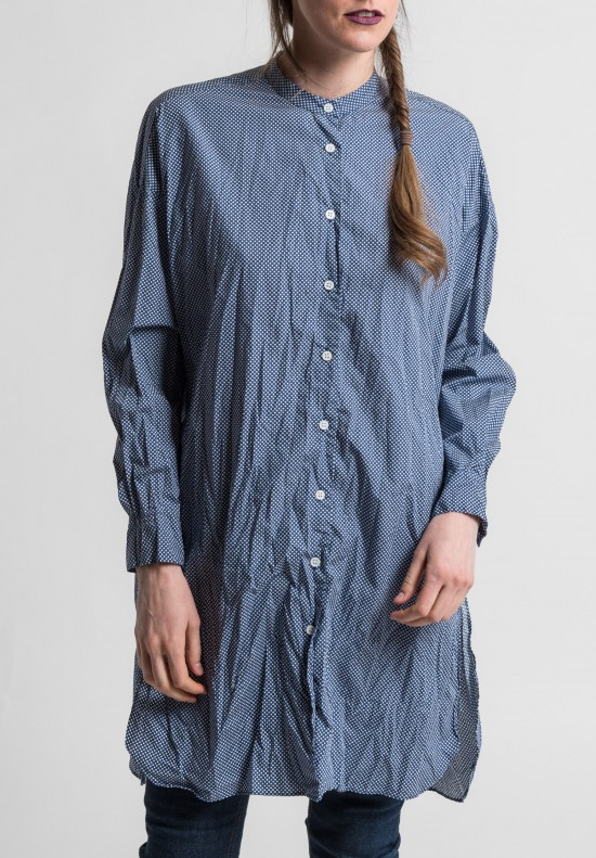 Casey Casey Cotton Christies Tunic Shirt in Dot Blue