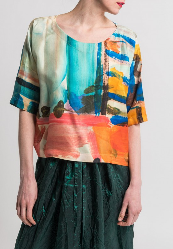 Daniela Gregis Special Paint Print Silk Top in Multicolor
