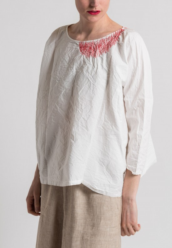 Daniela Gregis Washed Cotton Embroidered Neck Top in White