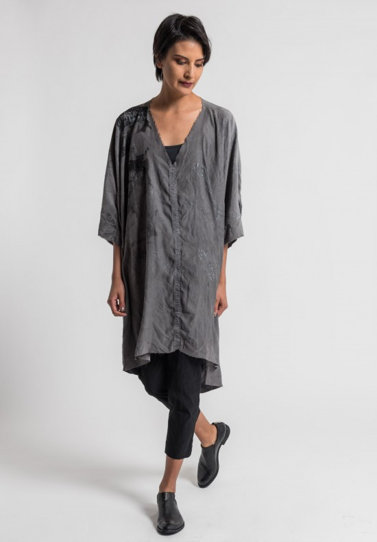 Jaga/Duuya Silk Hand Painted Relaxed Dress in Grey