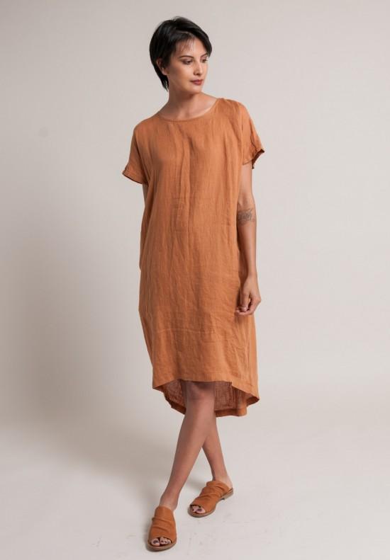 17109c6f40 Black Crane Linen Pleated Cocoon Dress in Rust