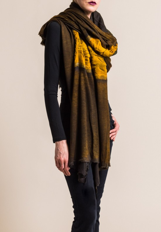 Avant Toi Large Cashmere/Silk Felted Patchwork Scarf in Girasole