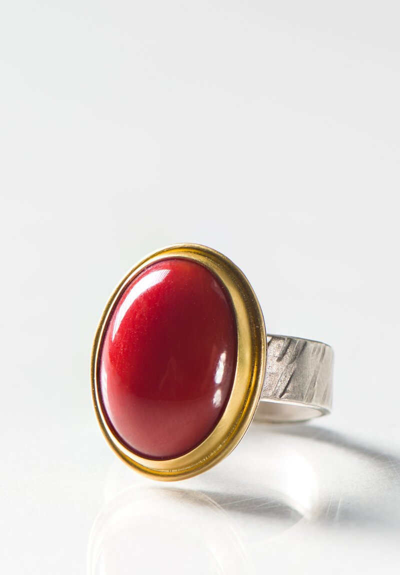Greig Porter 18k and Sterling Silver, Natural Italian Coral Ring