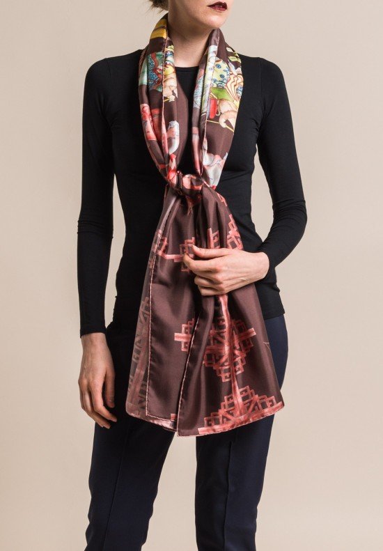 Roi Du Lac Silk Printed Scarf Flamingo in Merlot