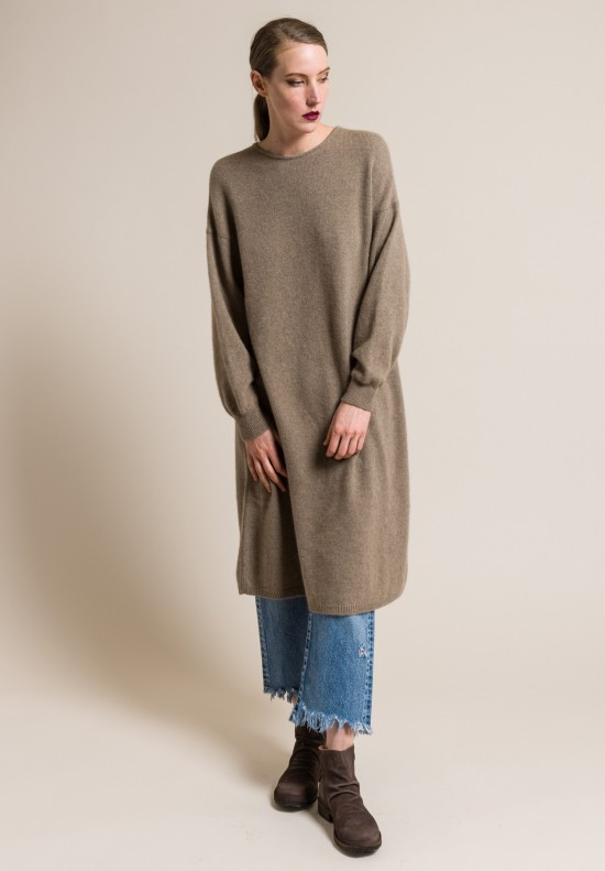 kaval Cashmere/Sable Relaxed Knit Dress in Beige