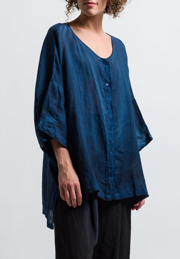 Gilda Midani Linen Button-Down Super Shirt in Deep Blue