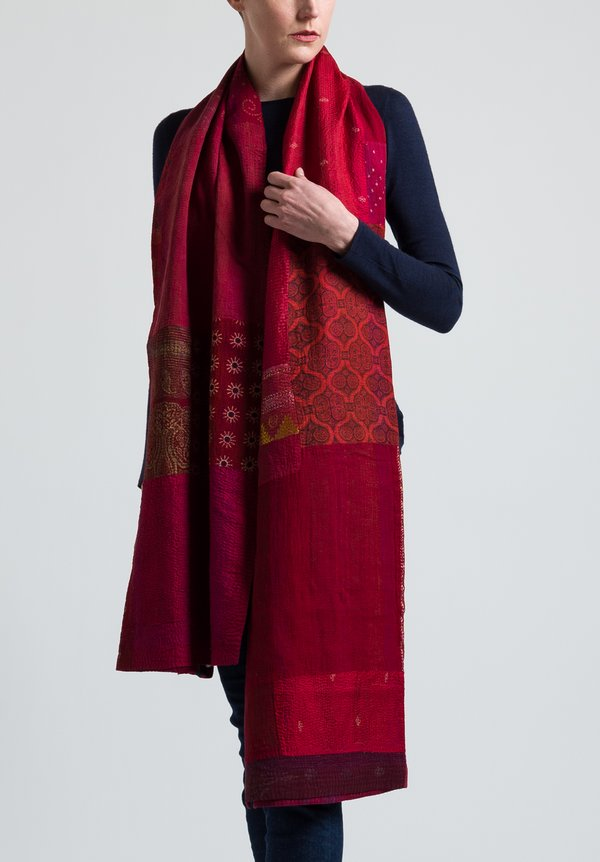 Mieko Mintz Brocade Patch Shawl in Red