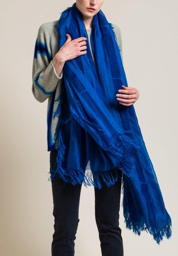 Suzusan Silk Sheer Double-Layered Scarf in Blue