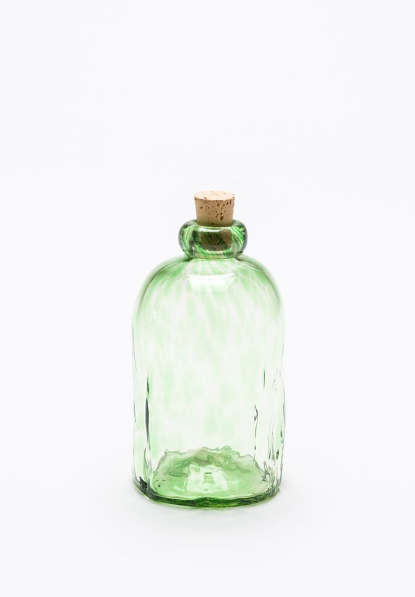 Handblown Corked Tall Bottle in Verde