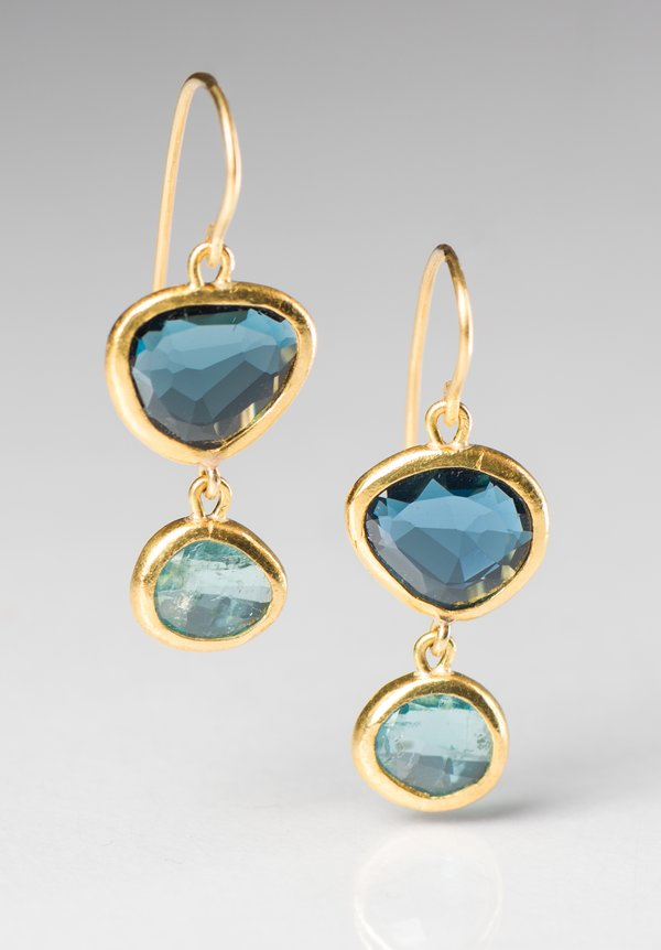 Greig Porter London Blue Topaz and Aquamarine Double Drop Earrings