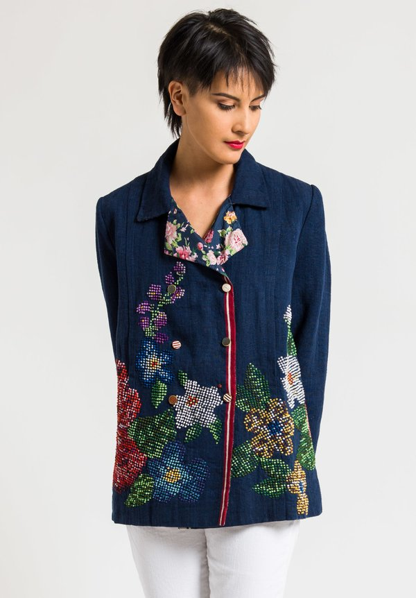 Péro Intricate Embroidered Jacket in Solid Navy