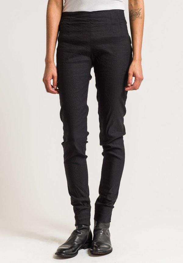 Rundholz Stretch Cotton Linen Skinny Pants In Black
