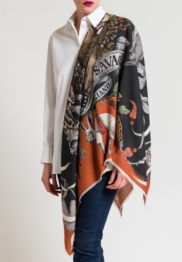 Sabina Savage Wool/Silk Fauna Exotica Scarf in Brick/Charcoal