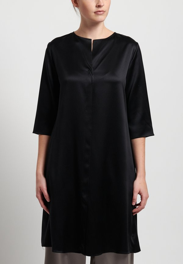 Peter Cohen Satin Silk Tunic in Black