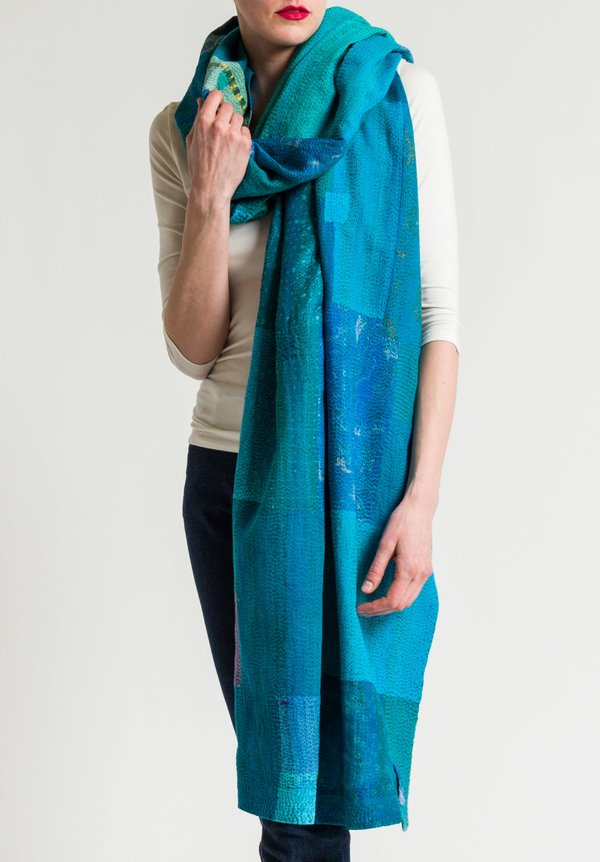 Mieko Mintz Brocade Patch Shawl in Turquoise/Teal
