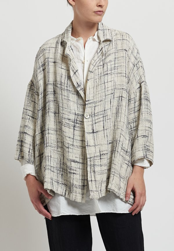 Kaval Linen Stole Jacket in Off-White