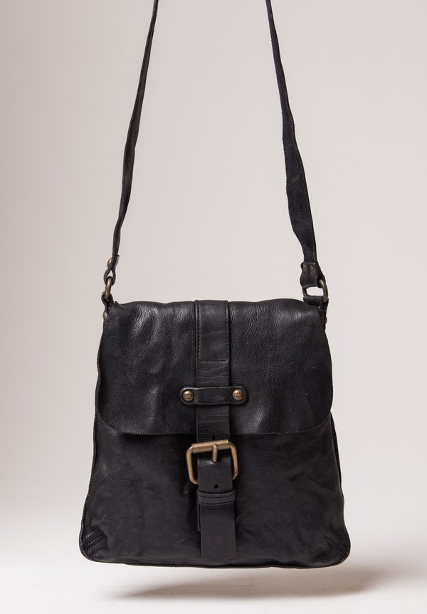 Campomaggi Crossbody Bag with Buckle in Black