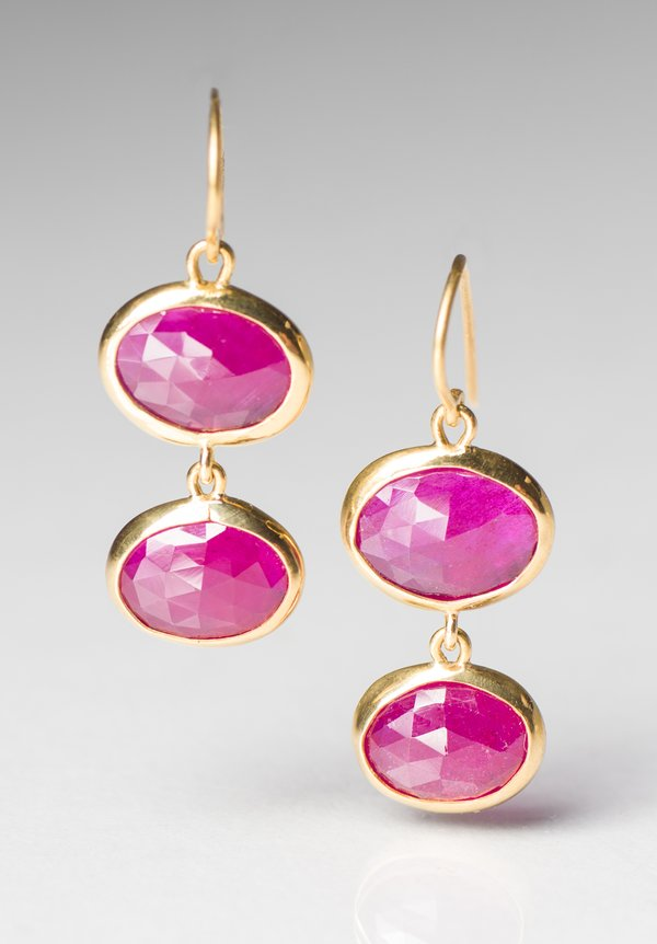 Greig Porter Glass Filled Ruby Drop Earrings
