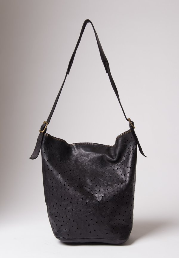 Campomaggi Perforated Shoulder Bag in Black