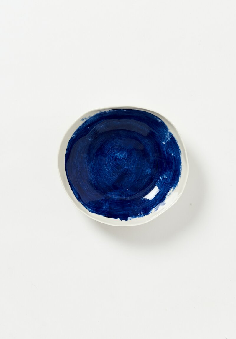 Interior Painted Shallow Soup Bowl in Blue