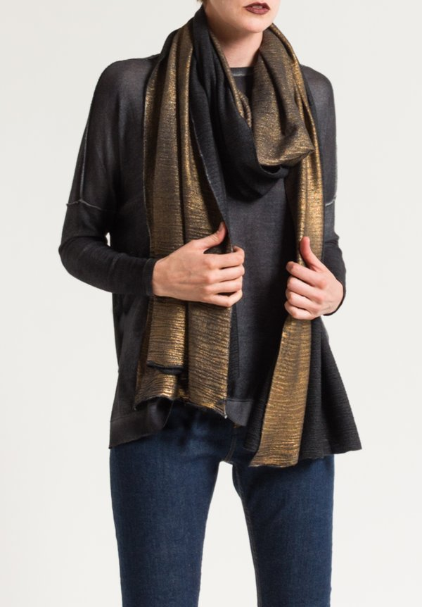 Avant Toi Metallic Textured Scarf in Gold Foil/ Black