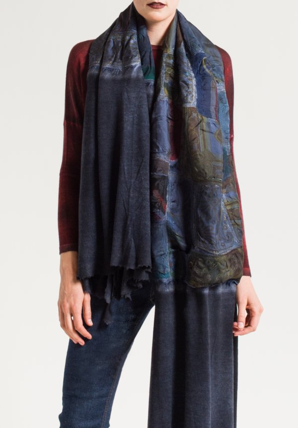 Avant Toi Felted Patchwork Scarf in Blue Navy