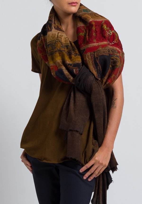 Avant Toi Felted Patchwork Scarf in Suede