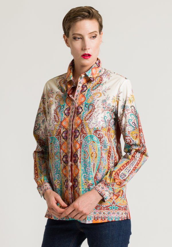 Etro Intricate Paisley Print Shirt in Turquoise/ Rust