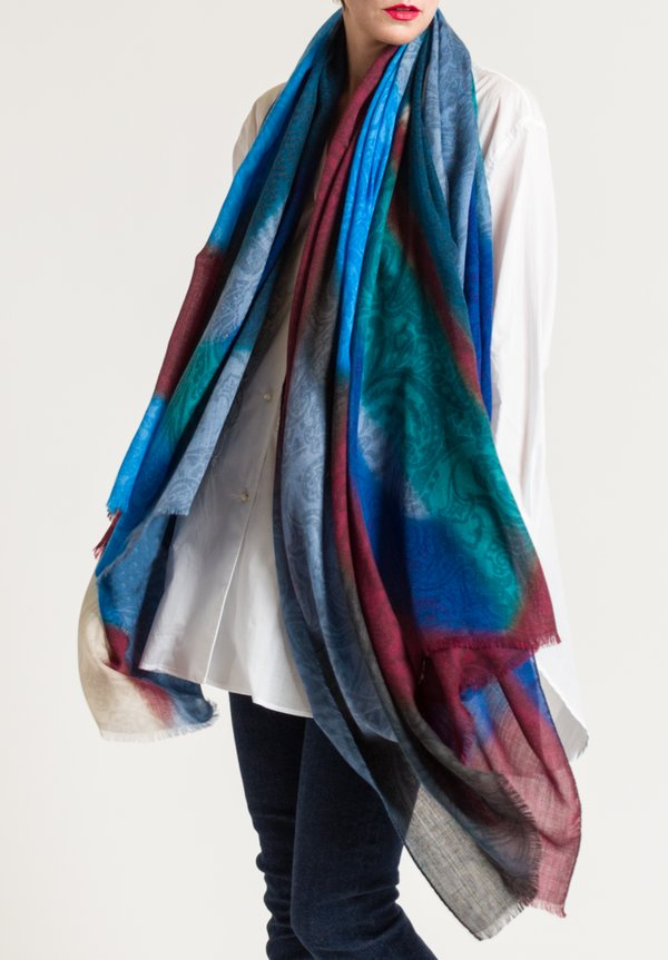 Etro Subtle Paisley Print Scarf in Maroon/ Blue